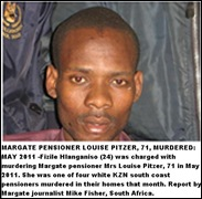 Hlanganiso Fizile arrested murder Margate pensioner Mrs Pitzer