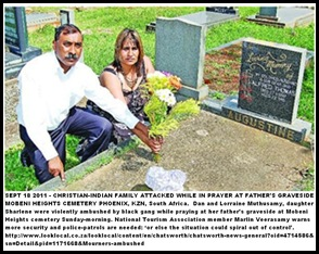 MUTHASAMY family Phoenix attacked at her father graveside violent robbers SunSept182011 MOBENI HEIGHTS CEMETERY KZN