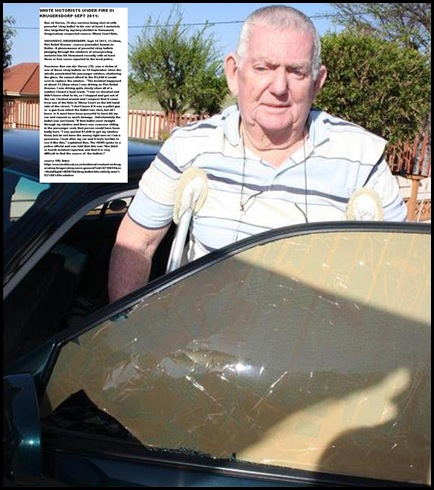 VanderMerwe BEN car hit by stray bullet on e of four Sept 14 2011 Monument Krugersdorp PietRetiefAve