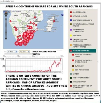 AFRICA UNSAFE FOR ALL WHITE SOUTH AFRICANS MAP FARMITRACKER AUG222011
