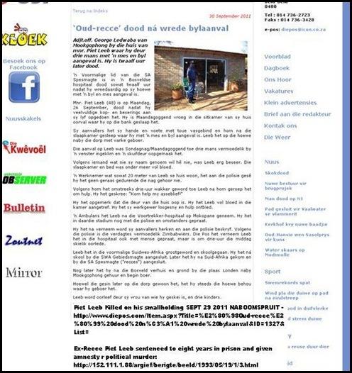 LEEB PIET exRecce murdered in sleep Naboomspruit pig farm
