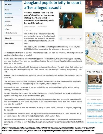 AFRIKAANS PUPILS AND COLOURED PUPILS JEUGLAND RACE ATTACKS NOV 2011 CAXTON NEWSPAPER REPORT