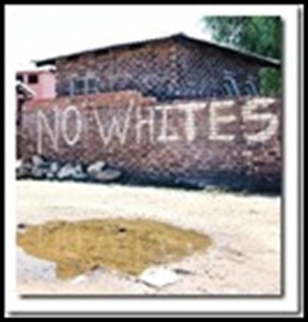 anti afrikaner hatespeech on township walls NO WHITES