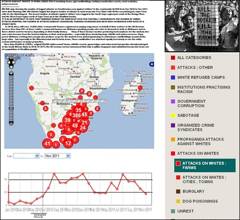 ANTI WHITE ATTACKS SOUTH AFRICA FARMS ONLY NOV201O TO NOV 2011 FARMITRACKER