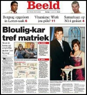 FERREIRA AFRIKAANS YOUTH MOWED DOWN BY BLUELIGHT MEC CAR BEELD FRONTPAGE