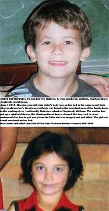 Velthuysen children and mother stabbed to death Dagbreek Welkom rented minehouse