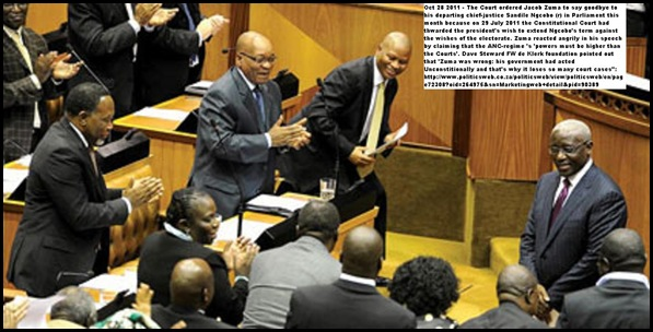 ZUMA SAYS GOODBYE TO EX CHIEF JUSTICE NGCOBO AND GREES NEW CJ MOGOENG MOGOENG Nov12011