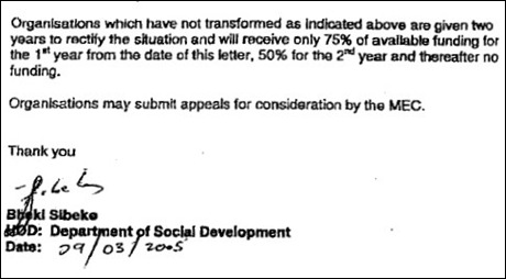AFRIKANER CHARITIES REFUSED FUNDING PAGE 2 LETTER