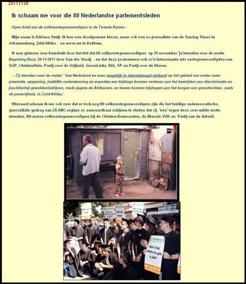 AFRIKANERRECHTEN NEDERLAND IK SCHAAM MIJ VOOR DIE 80 NEDERLANDSE PARLEMENTSLEDEN NOV112011 STUIJT ADRIANA