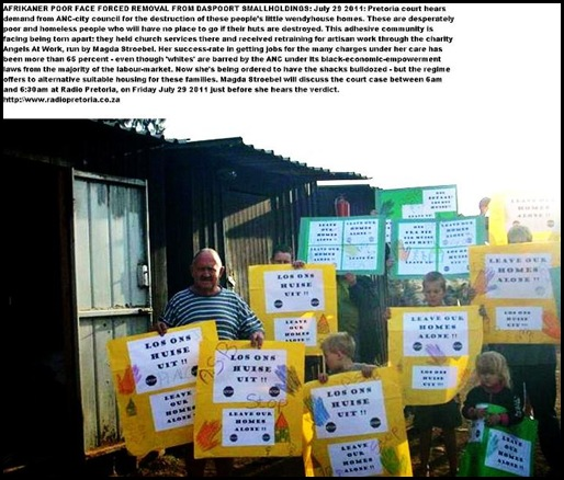 ANGELS AT WORK CHARITY DASPOORT THREATENED WITH FORCED REMOVAL OCT 2011 PRETORIA
