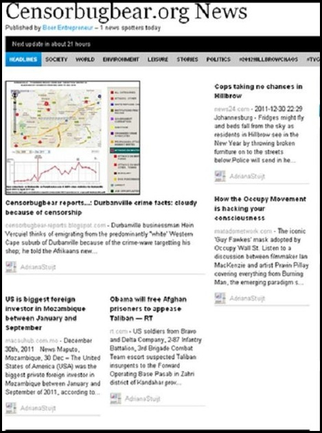 Censorbugbear Org NEWS Dec 31 2011 front page