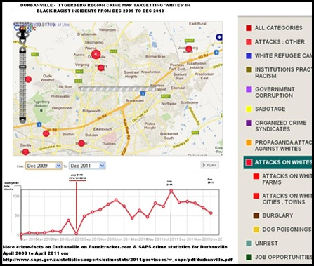 Durbanville Tygerberg crime map Farmitracker targetting whites Dec2009 to Dec 2011