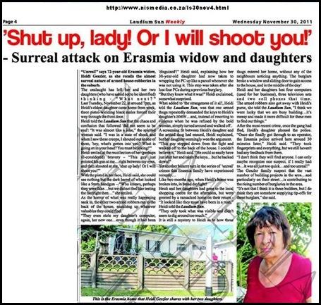 GESSLER Heidi two daughters repeat attacks by black gunmen Erasmia Nov302011 Laudium Sun Weekly