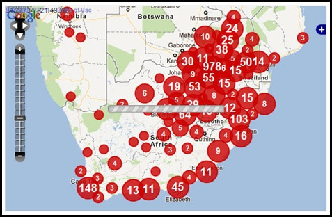 SOUTH AFRICA CRIME MAP FARMITRACKER WHITE VICTIMS DEC112011