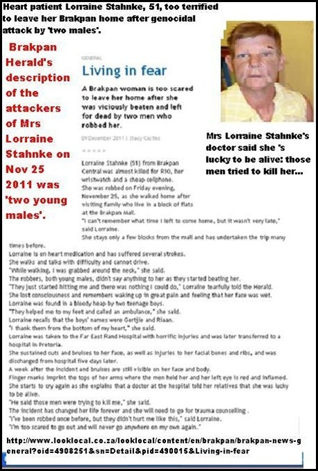 Stahnke Lorraine 51 Brakpan survives genocidal attack by two males Nov 25 2011