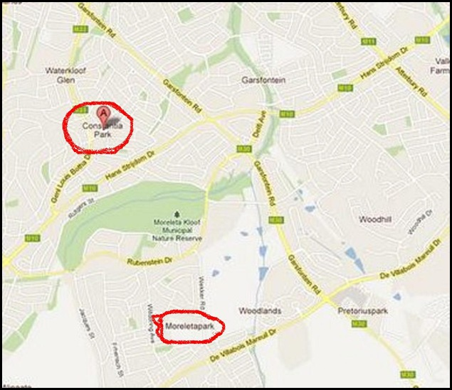 WATERKLOOF FOUR CRIME MAP PRETORIA TWO SITES