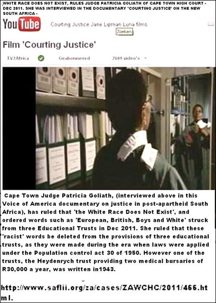 WHITE RACE GROUP DOES NOT EXIST RULES JUDGE PATRICIA GOLIATH CT HIGH COURT DEC 2011