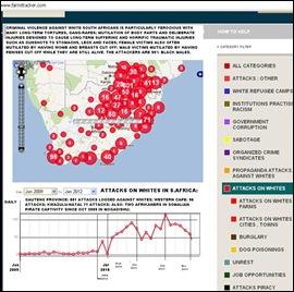 CRIME MAPS WHITES ATTACKED SA JAN2009 TO JAN11 2012 MAP FARMITRACKER COM