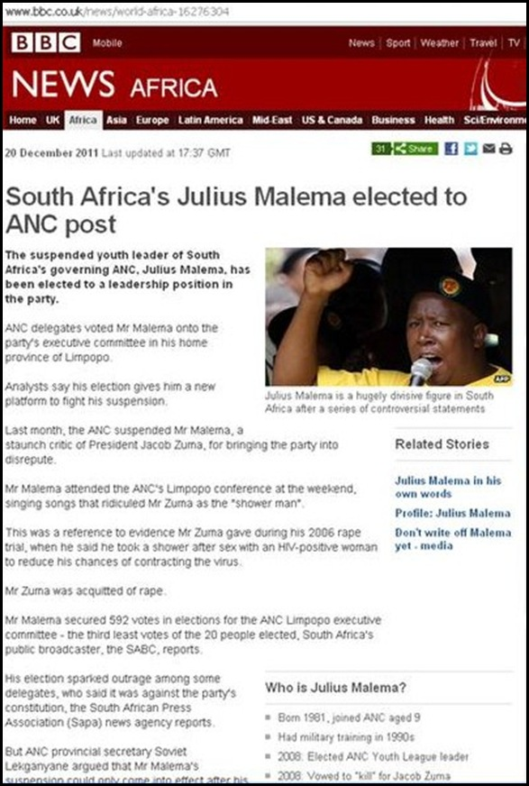 MALEMA JULIUS ELECTED TO ANC POST BBC 20 DEC 2011