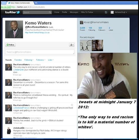 WATERS rev KEMO tweet Jan72012 Killing whites is only way to end racism