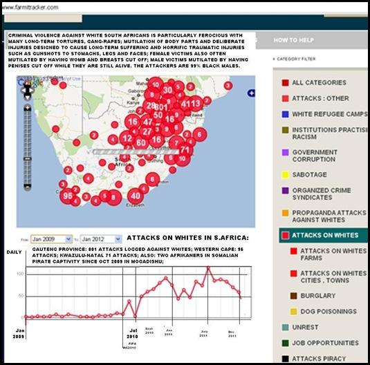 WHITES ATTACKED SA JAN2009 TO JAN11 2012 MAP FARMITRACKER COM