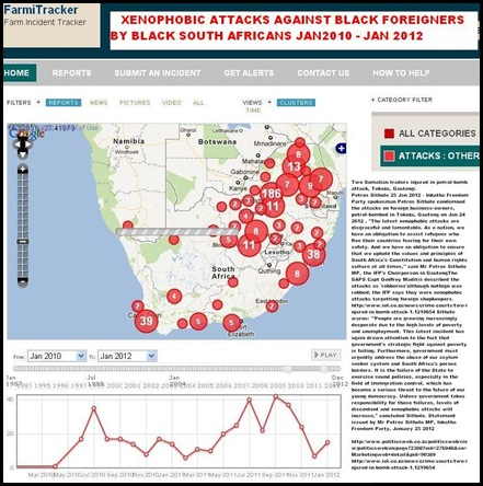 Xenophobic attacks South Africa Jan 2010 to Dec 2011