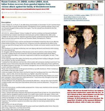 Coetzee Linda and Ruaan mother son dead 3 black males attack Dec102011 Wonderboom