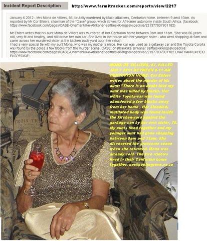 No arrests in strangling murder of mona de villiers 86 for Villiers 86