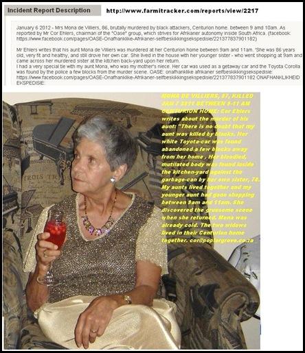 DE VILLIERS Mona Jasn 6 2012 murder Centurion Farmitracker.com cache