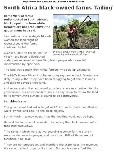 FARMLAND 90 PERCENT OF BLACK OWNED FARMS FAILING BBC REPORT