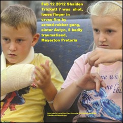 TRICKETT Shaiden 7 and sister Astyn 5 traumatised from armed robbery shooting Feb132012