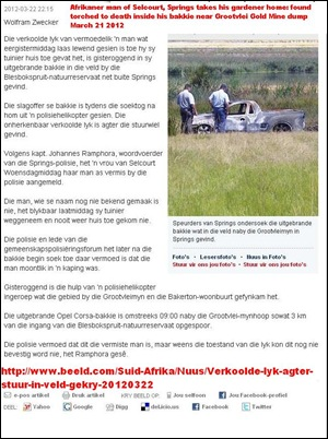 Afrikaner man torched in car Blesbokspruit nature reserve Springs March 21 2012 Grootvlei mine