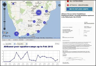 Afrikaner Squatter camps Feb 2012 MAP on Farmitracker com