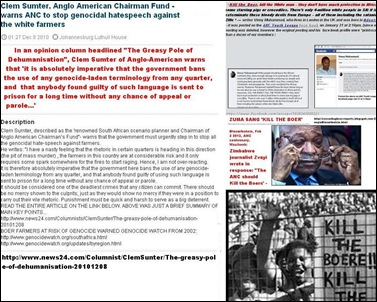 ANTI AFRIKANER HATESPEECH MUST STOP WARNS ANGLO AMERICAN CHAIRMAN FUND MGR CLEM SUMTER