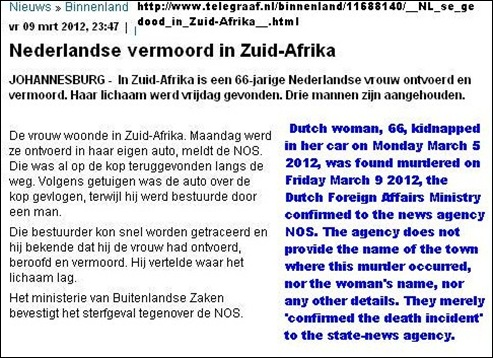 Dutch woman 66 kidnapped killed in South Africa  March 3 2012