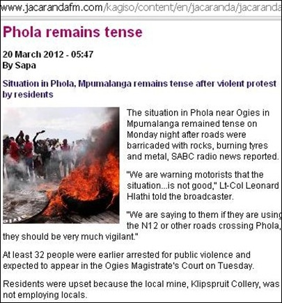 OGIES Phola township violence March 20 2012