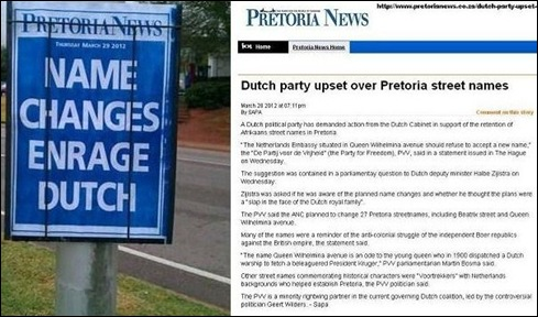 PRETORIA NAME CHANGES ENRAGE DUTCH