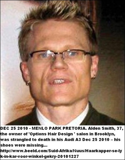 SMITH Alden Menlo Park hairdresser murdered because of homophobia or because he exposed Metro Cops Corruption on CarteBlancheTV