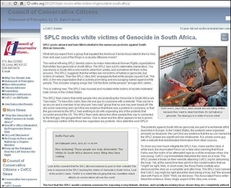 US RADICAL LEFT MOCKS WHITE VICTIMS OF GENOCIDE IN SOUTH AFRICA March 1 2012