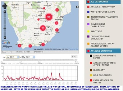 WHITES ATTACKED MAP1 SINCE JAN 2012 AFTER ZUMA HATESONG JAN 2012 BLOEMFONTEIN