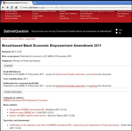 WHITE WOMEN EXCLUDED FROM SA JOB MARKET ORIGINAL GOVERNMENT ANNOUNCEMENT GAZETTE DEC 2011