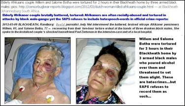 AFRIKANERS OFTEN TORTURED BOTHA COUPLE BRUTALLY BEATEN BLACKHEATH RANDBURG MARCH 8 2012