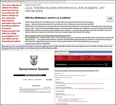 ALL WHITES BARRED FROM SA LABOUR MARKET 9 JAN 2012