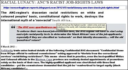 ANC REGIME RACIST JOB RIGHTS LAWS RESTRICTIONS ON WHITE AN D COLOURED PEOPLE TO RIGHT TO WORK MARCH 2012