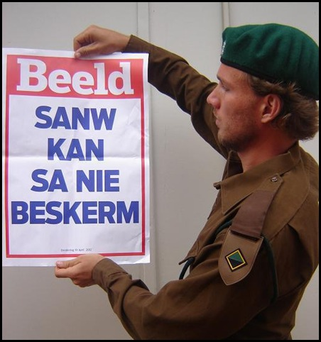 KOMMANDOKORPS sadf cannot protect SA Beeld newspaper poster April 19 2012