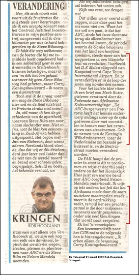 PRETORIA CHANGE ROB HOOGLAND COMMENT TELEGRAAF DUTCHMAR312012