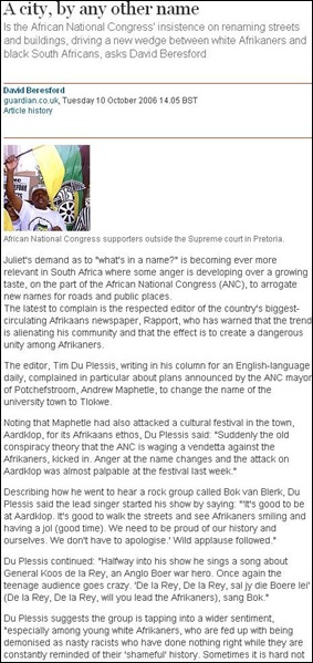 pretoria street name DAVID BERESFORD THE GUARDIAN MARCH102006