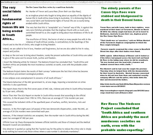 REES TREVOR AND LAURA son Anglican Pastor Glyn Rees blasts ANC regime