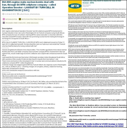 SA NUCLEAR BOMBS KNOWLEDGE TRADE OFF VIA MTN COMPANY LAWSUIT TURKCELL WASH DC APR62012 CYRIL RAMAPHOSA