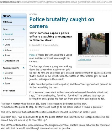 SA POLICE BRUTALITY KEMPTON PARK COPS BEAT YOUNG MAN VIDEO RECORDING MARCH 1 2012